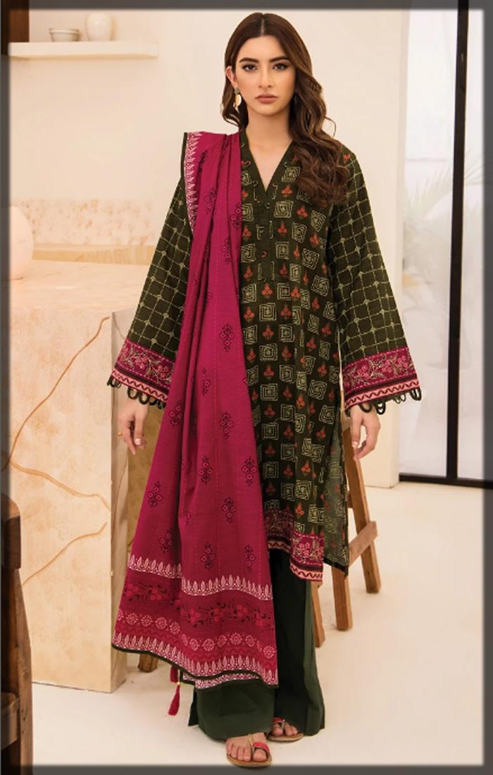 green three-piece khaddar dress
