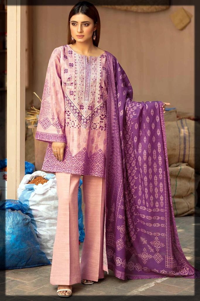 lavish pink and purple khaddar suit