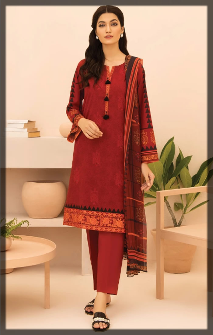 maroon embroidered cambric suit