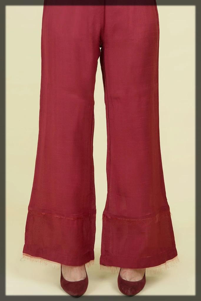 maroon wide trouser