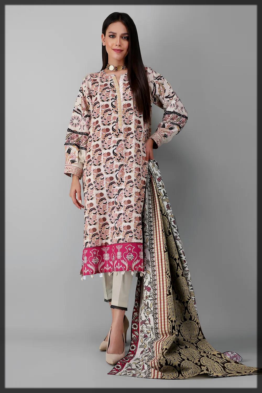 nude shaded khaddar suit