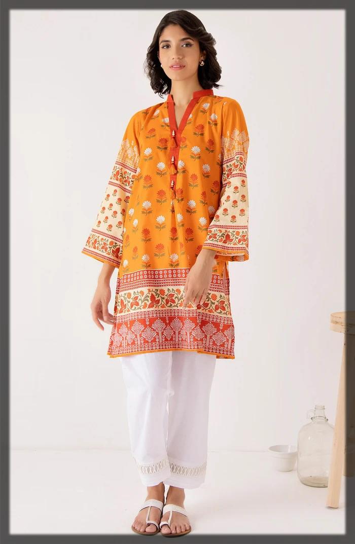 orange heavy cotton pret shirt