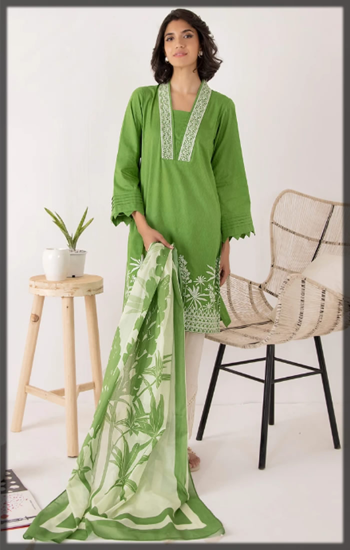 parrot green embroidered pret suit