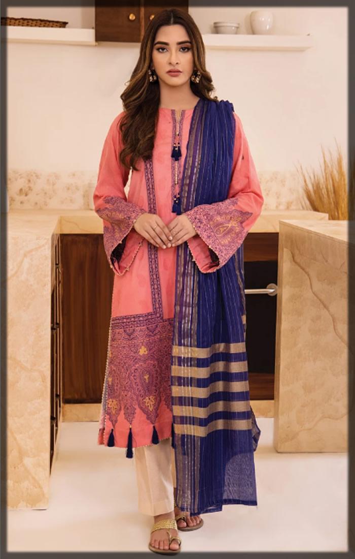 pink premium jacquard dress