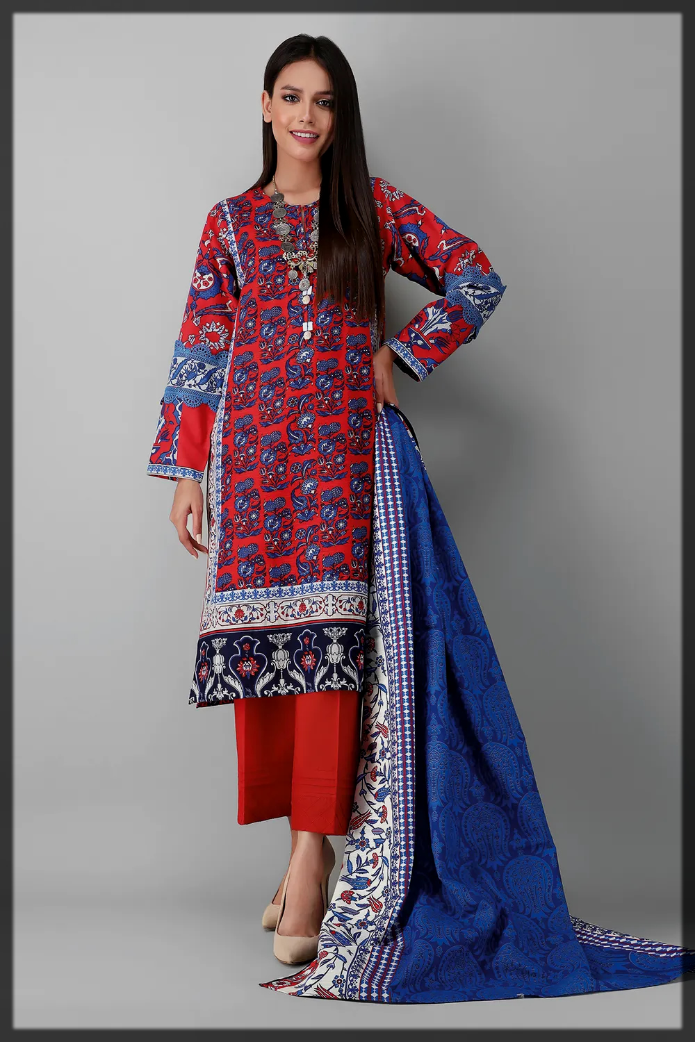 red and blue khaddar suit