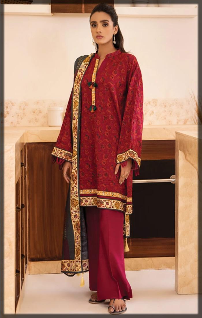 red three-piece khaddar dress