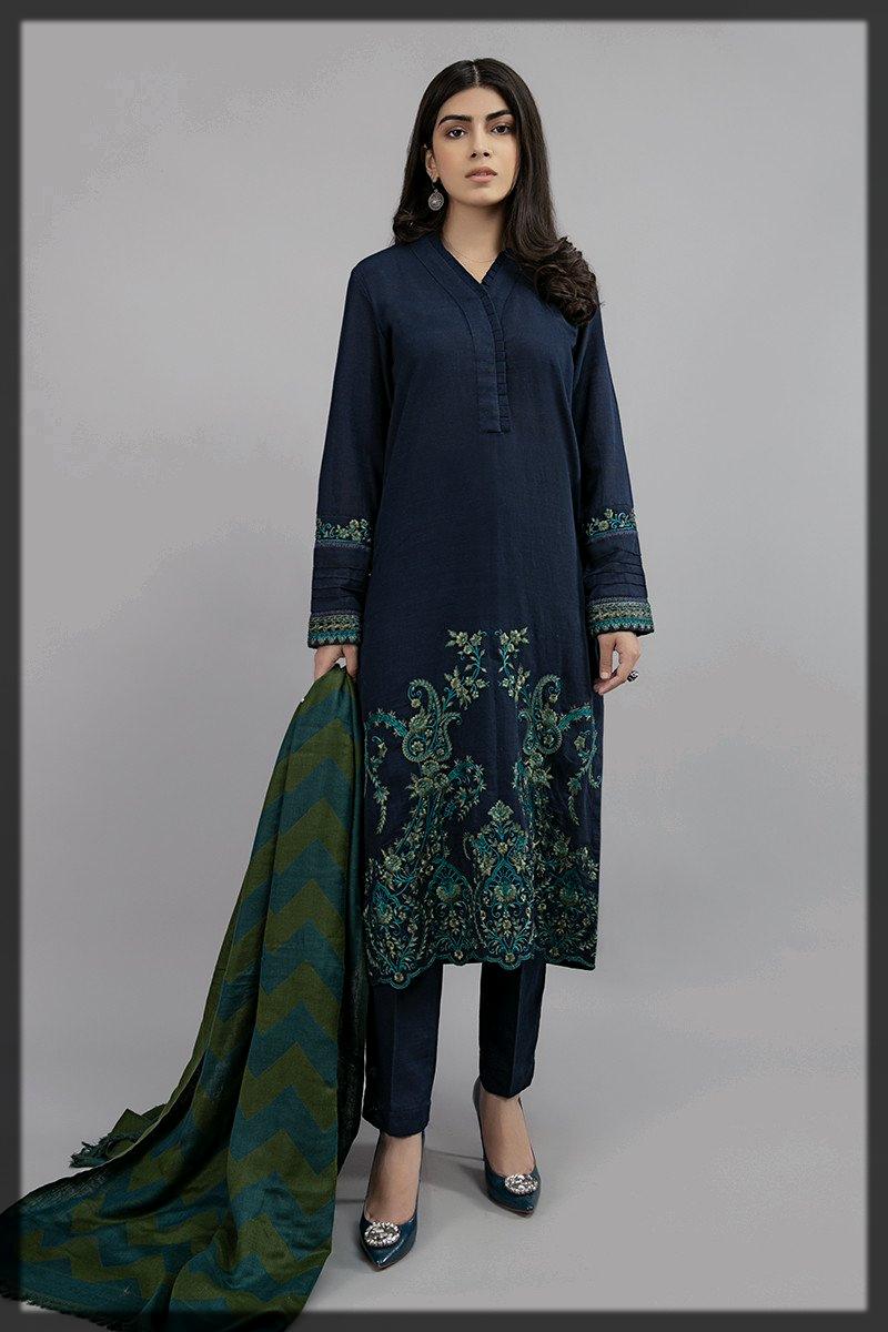royal blue winter khaddar suit