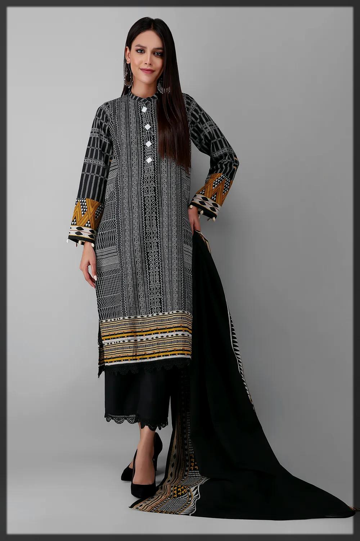 sleek black khaddar suit