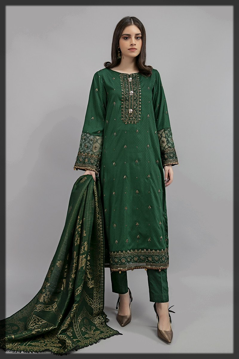 striking green shaded maria b winter collection