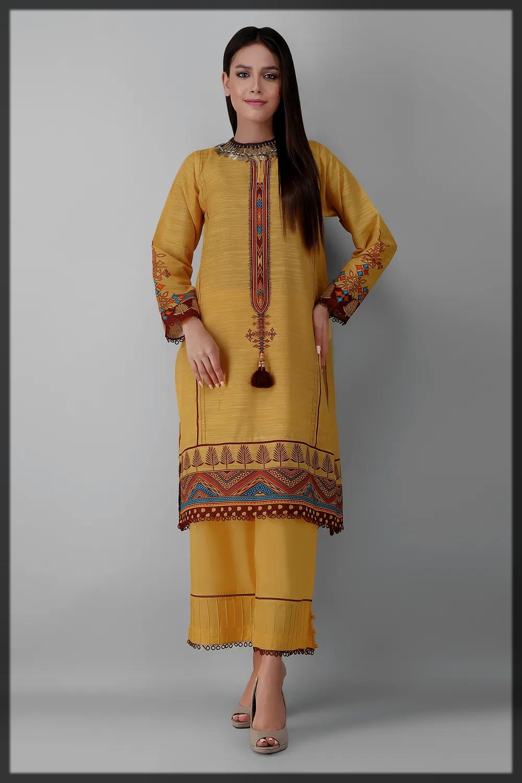sunshine yellow khaddar suit