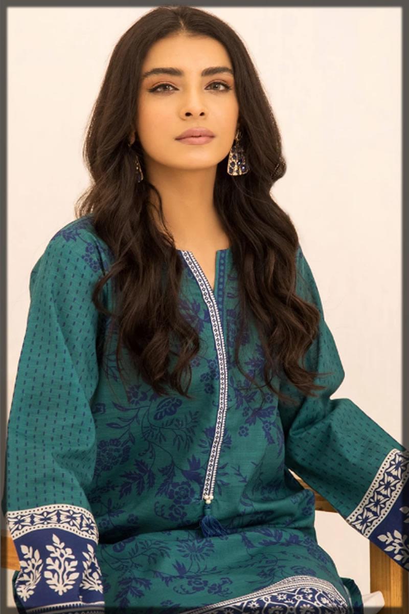 teal green printed khaddar shirt