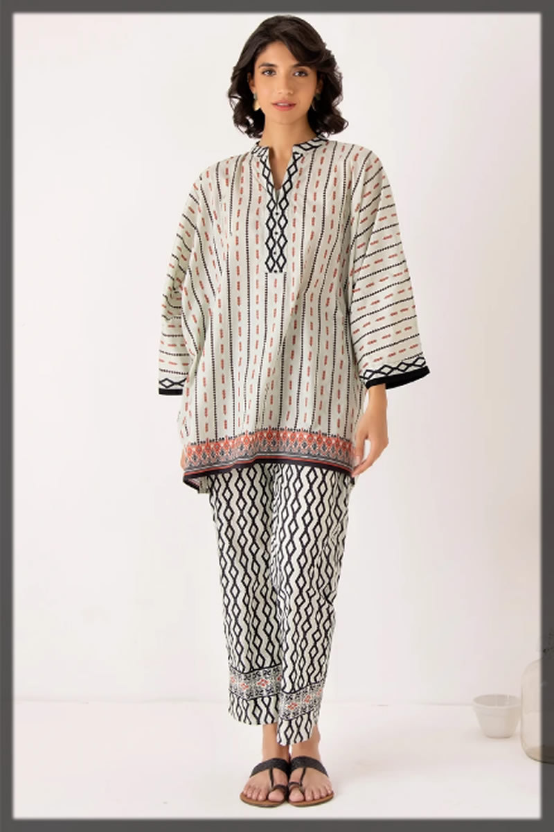 white and black printed cotton suit