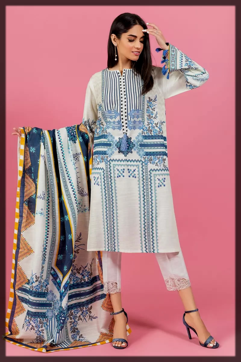 white and blue khaddar suit