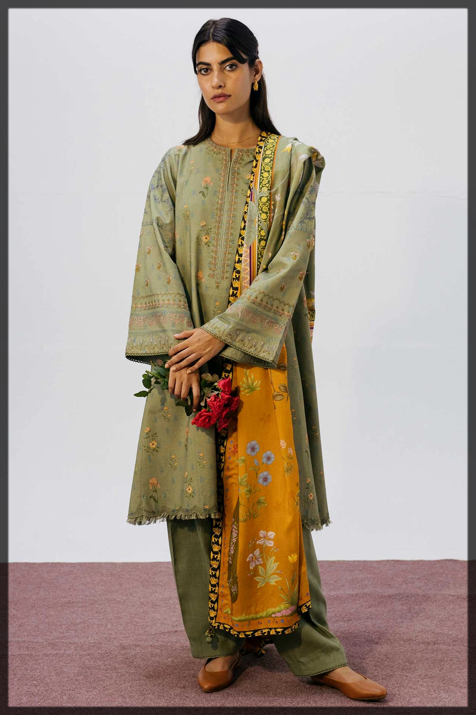 yellow and green khaddar suit