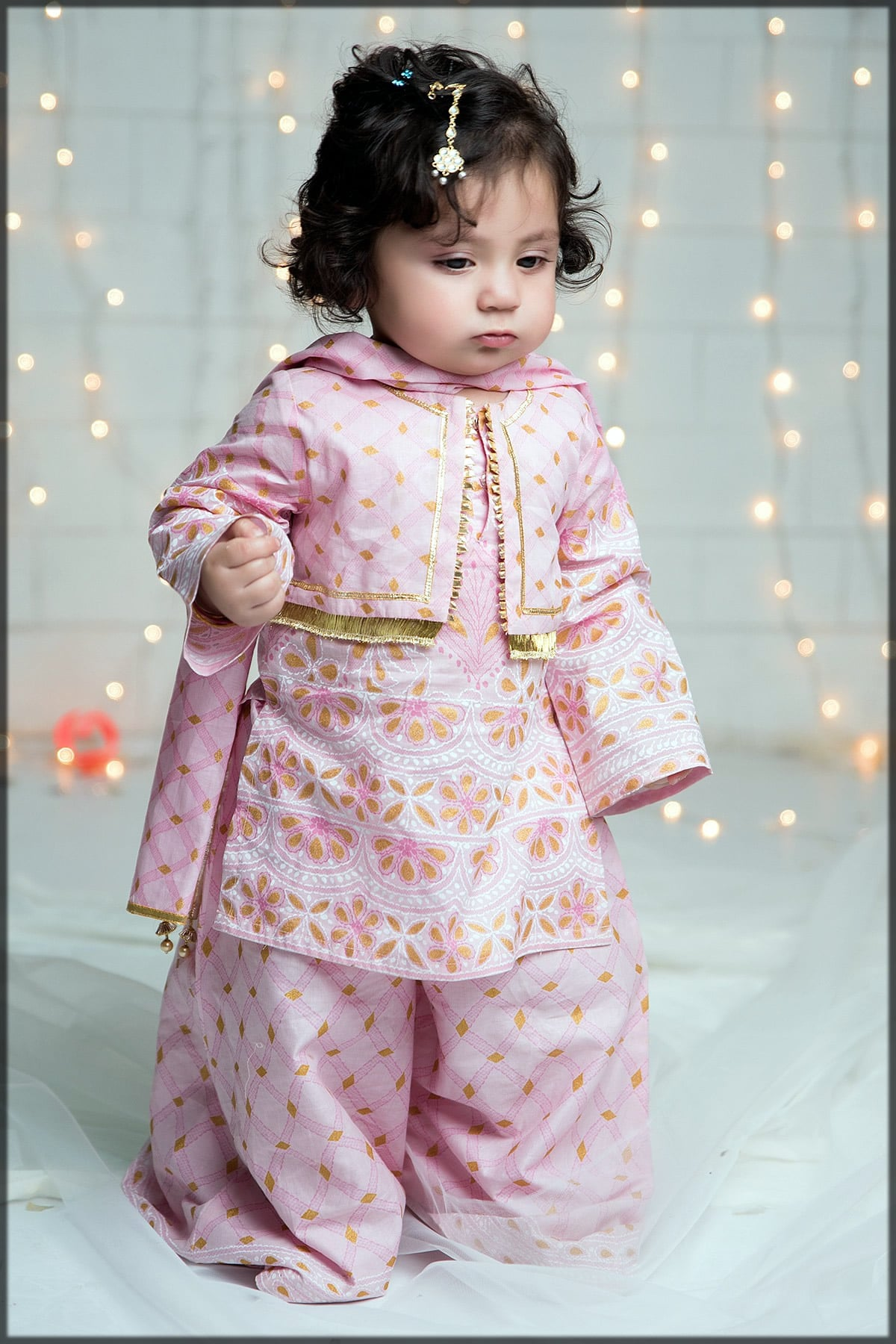 Cute pink baby sharara dress