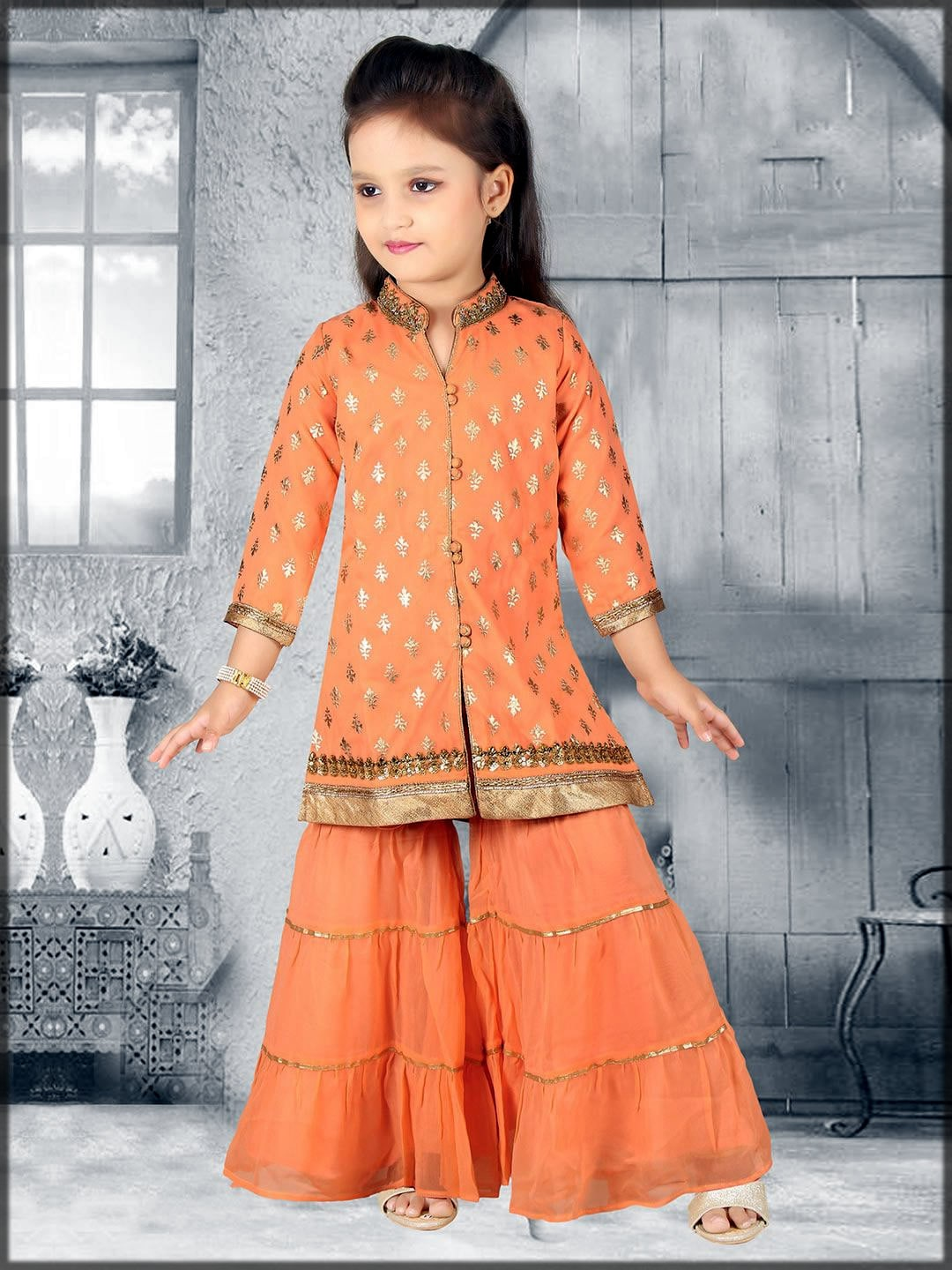 Orange sharara dress for baby girl