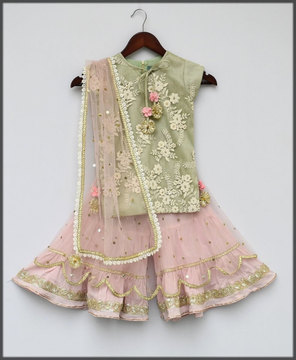 Pink sharara dress for baby girl