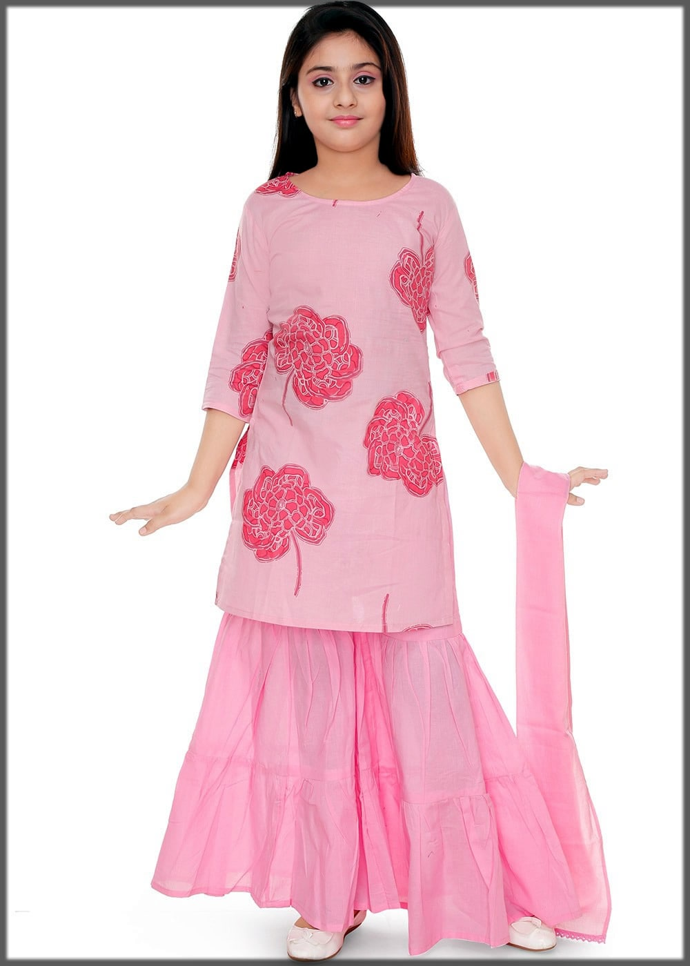 Pink stylish sharara dress for baby girl