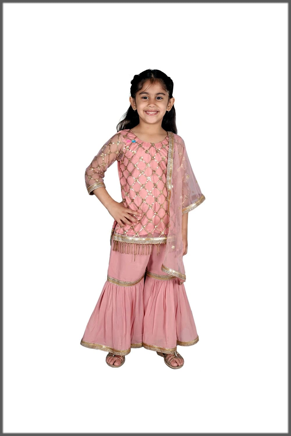 Pink stylish sharara dress