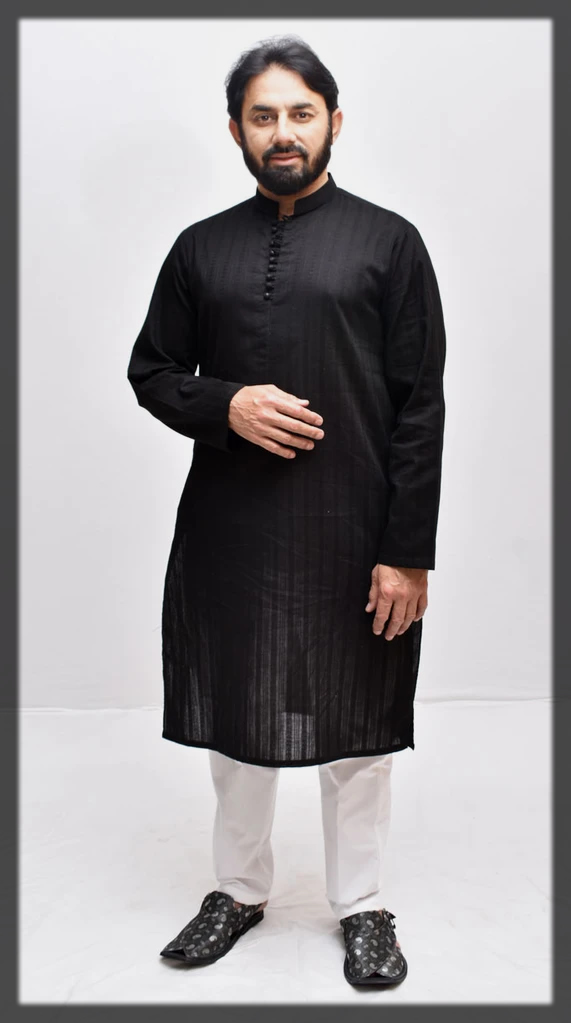 black Saeed Ajmal Kurta Designs for Men