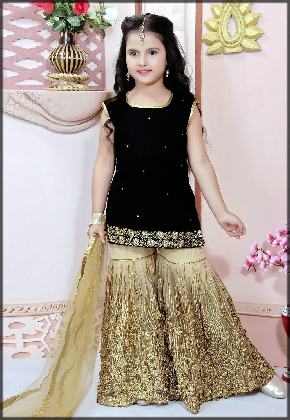 black sharara for girls