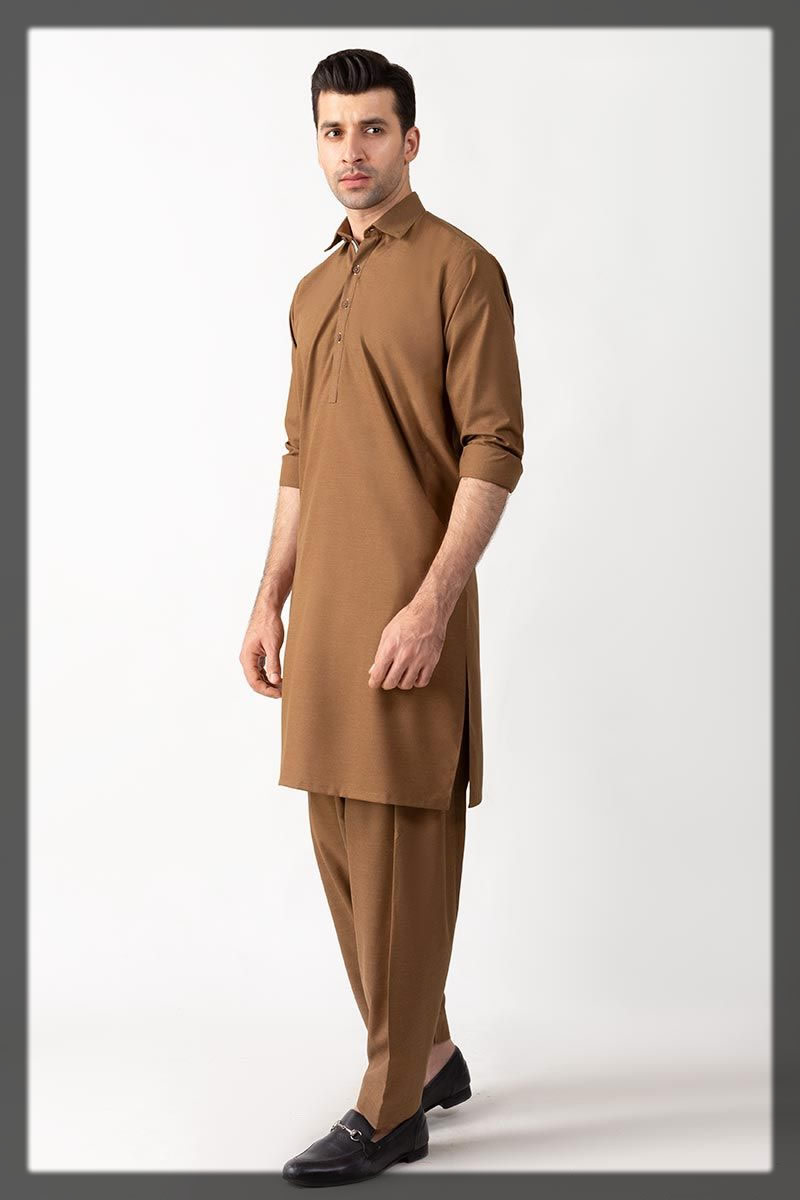 brown shalwar kameez for men