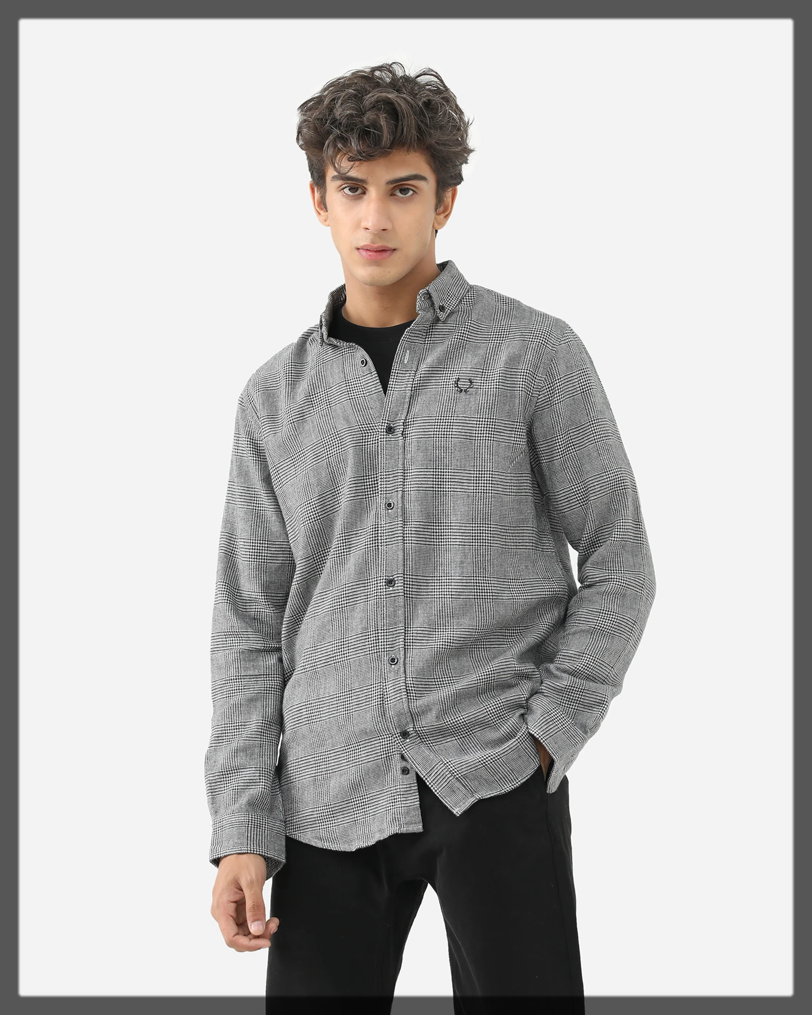 checkered button down shirt