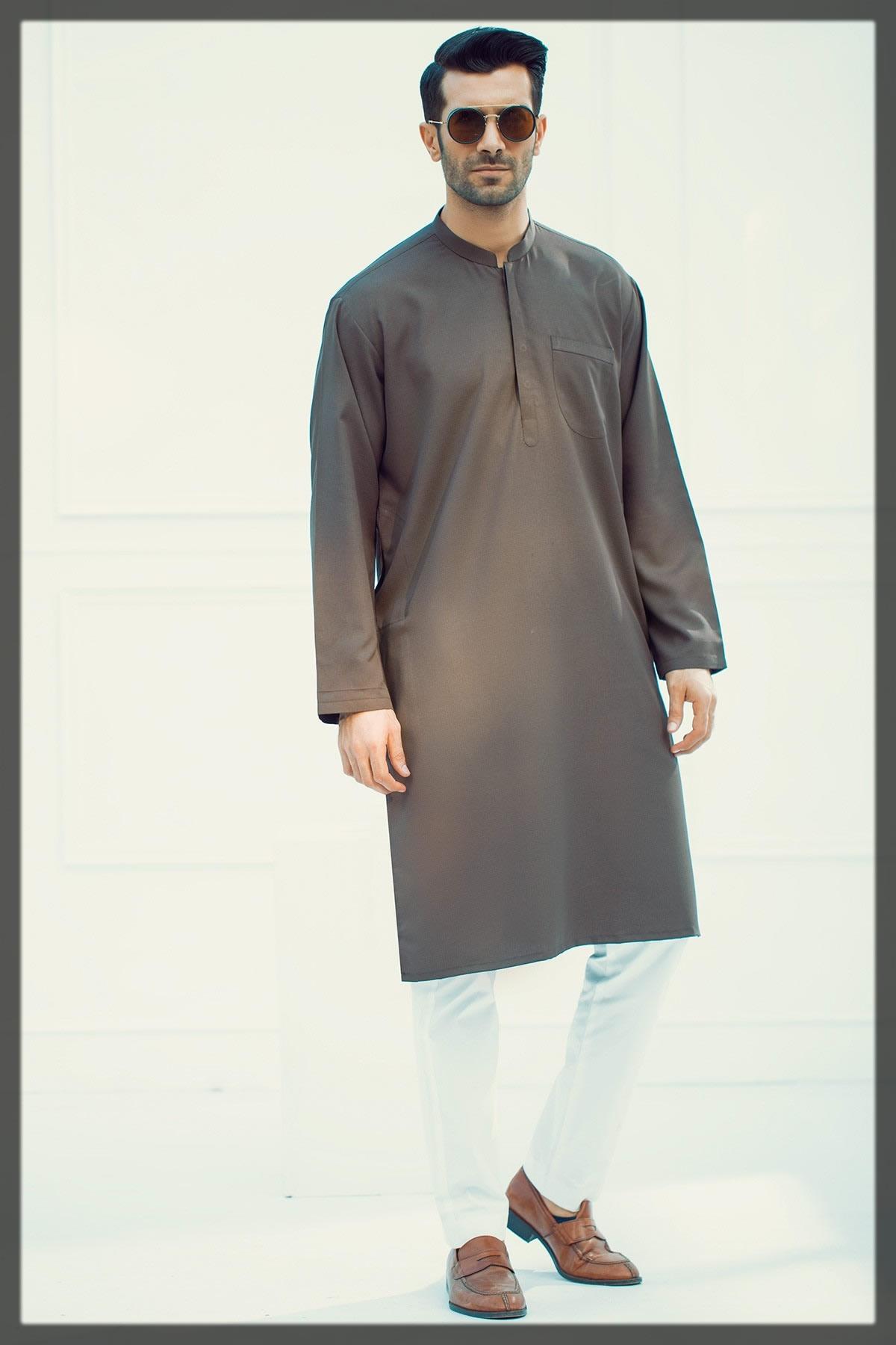 classic brown kurta for men