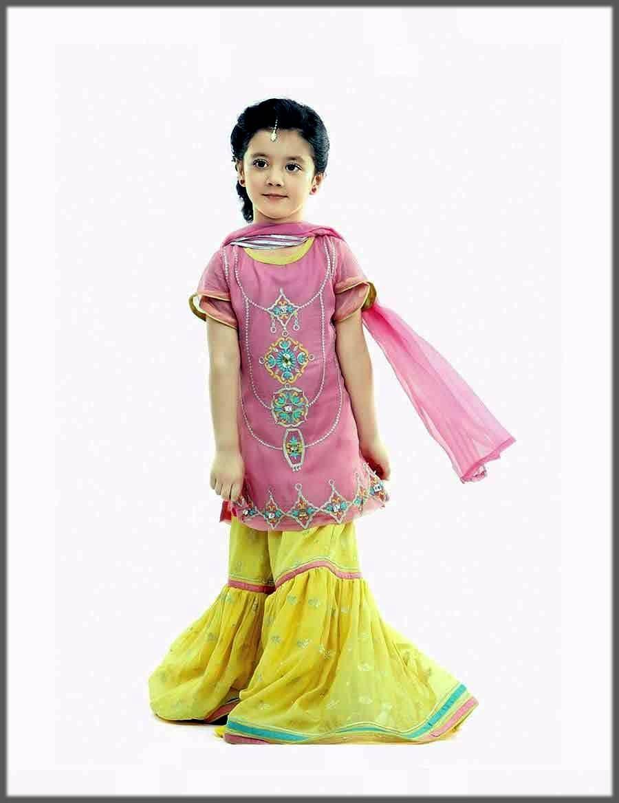classy yellow sharara for baby girls