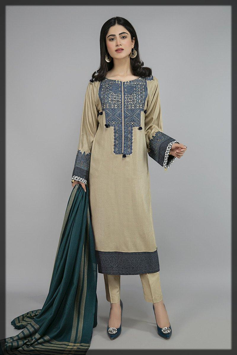 dazzling winter khaddar suit by Maria b