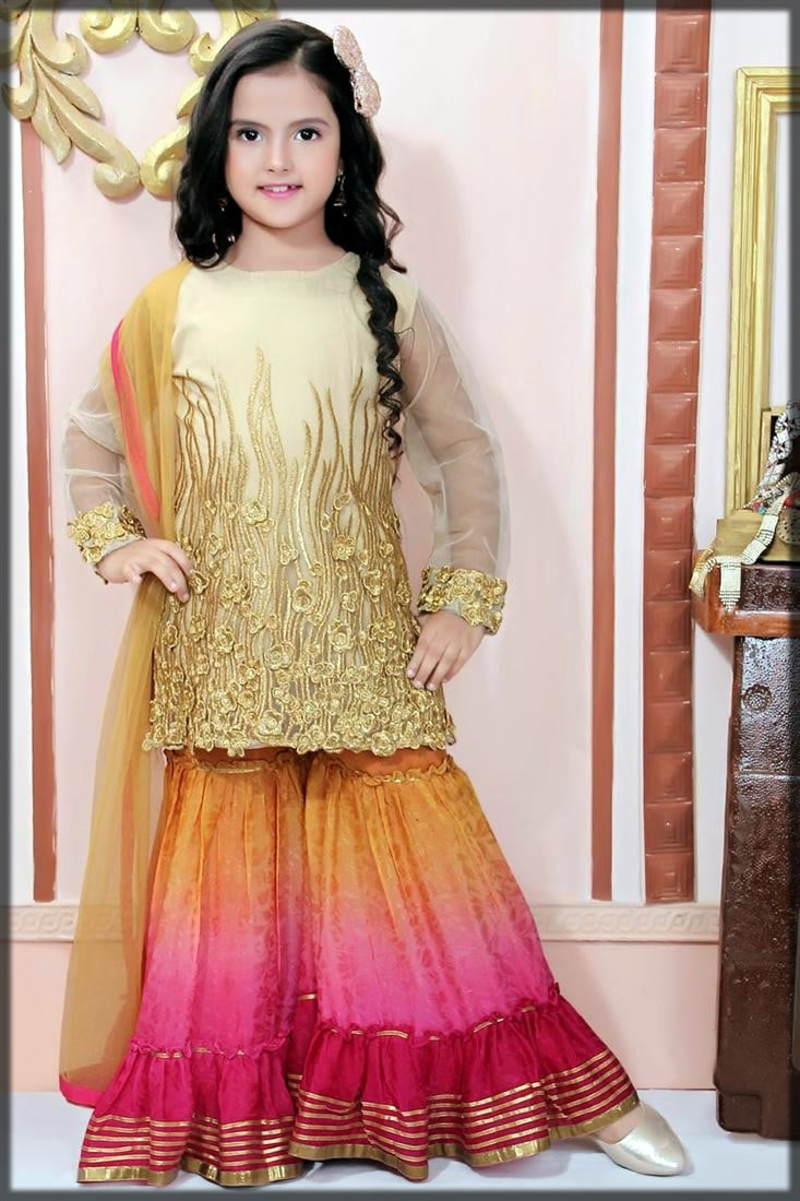 golden sharara for girls
