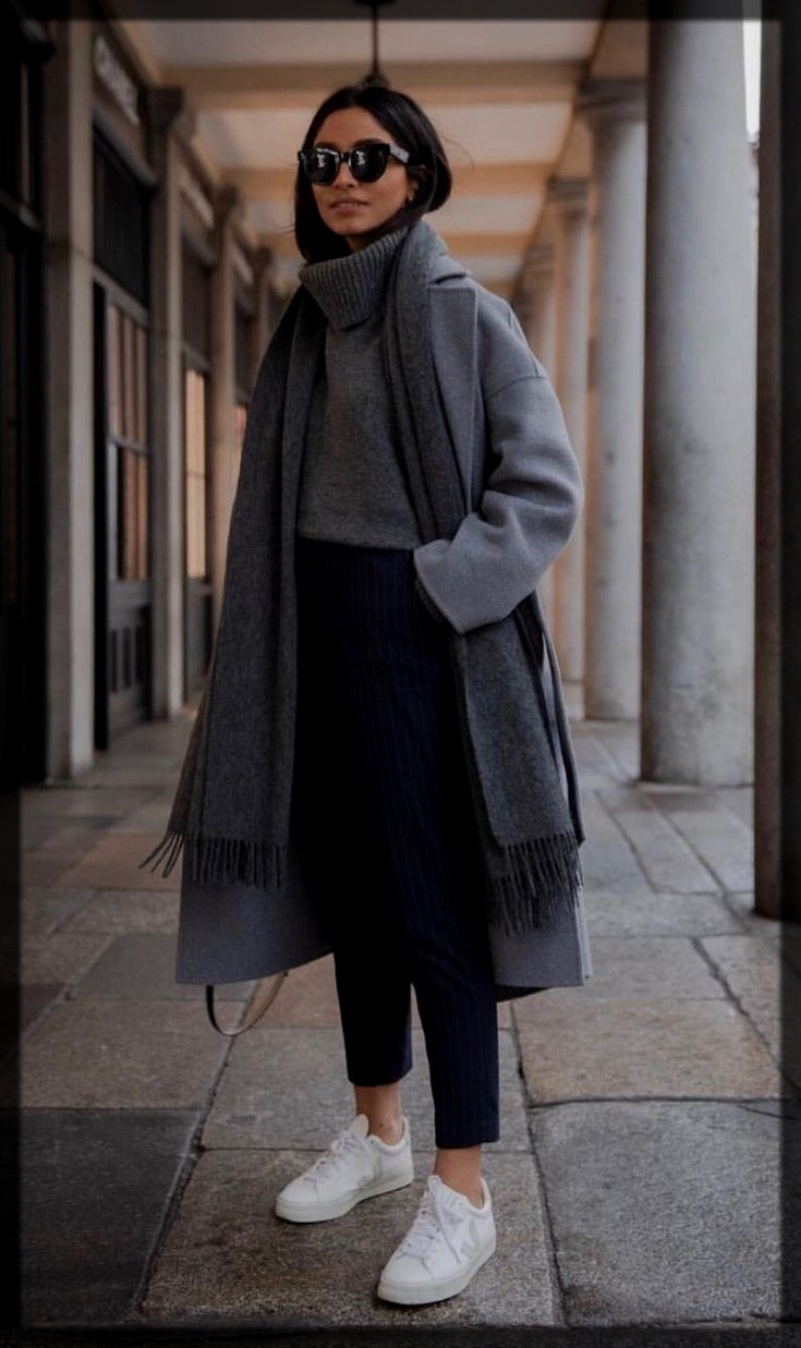grey and white winter outfit ideas
