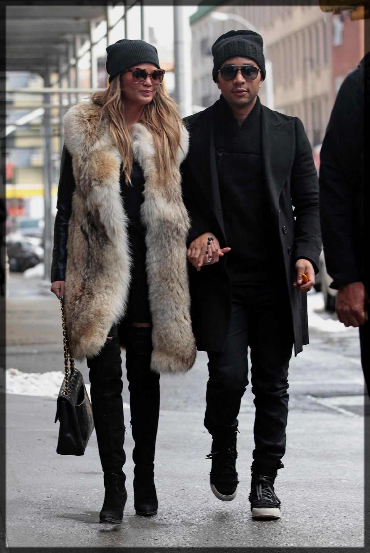 long fur coat with jeans