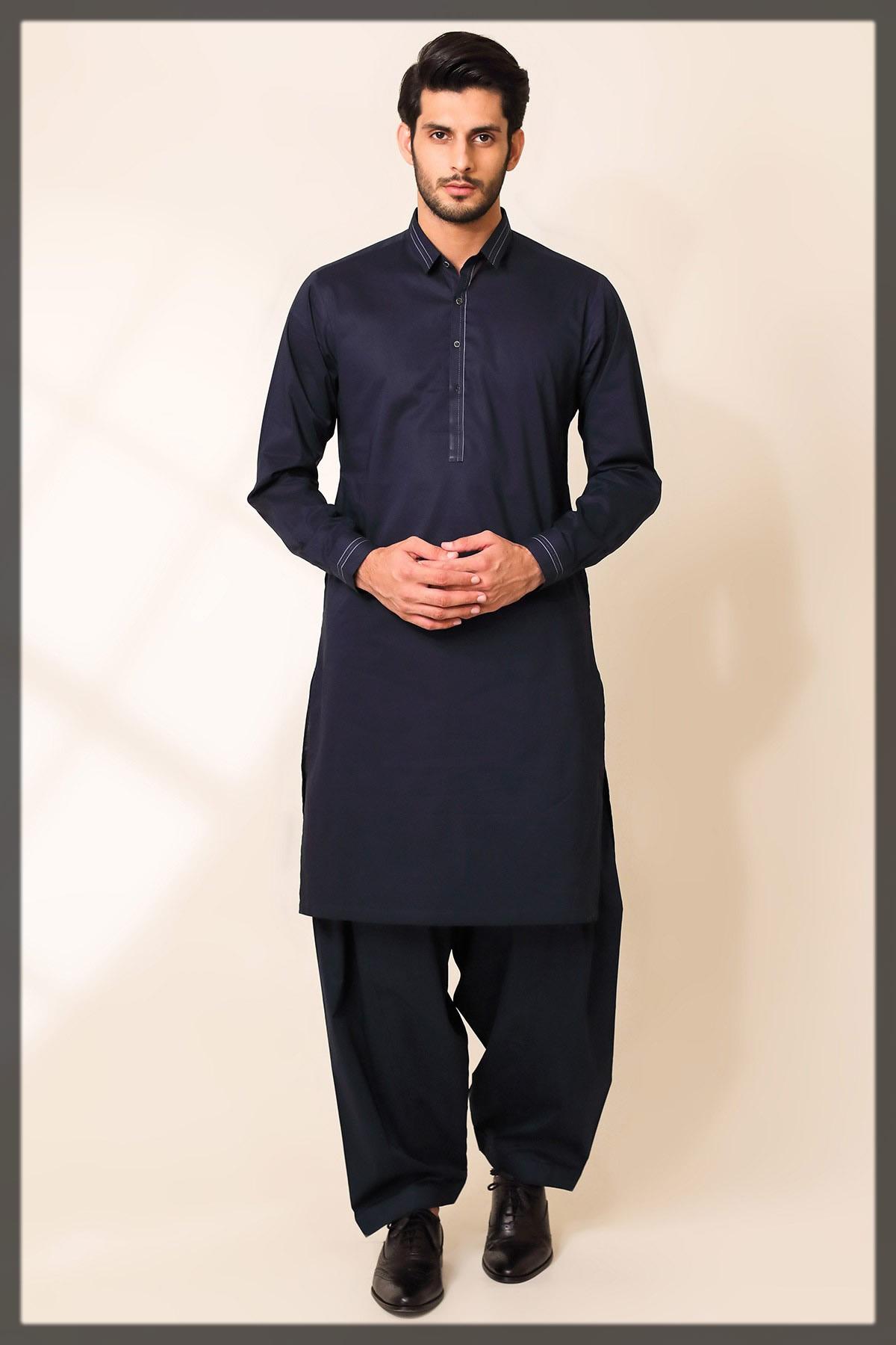 navy blue shalwar kameez