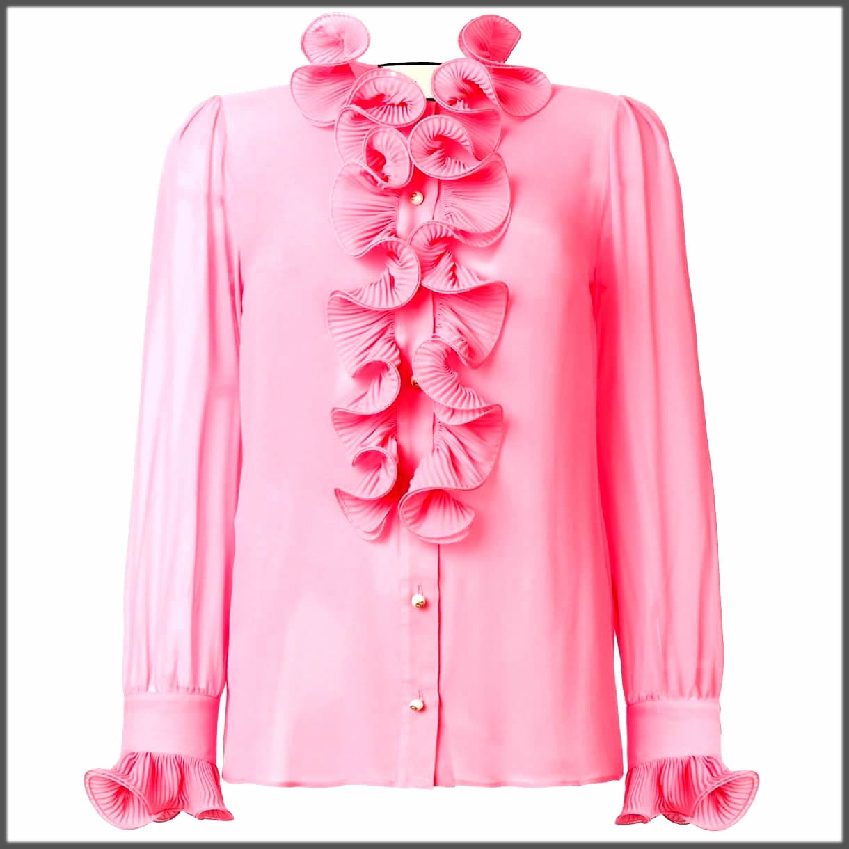 pink top with stylish frill sleeves