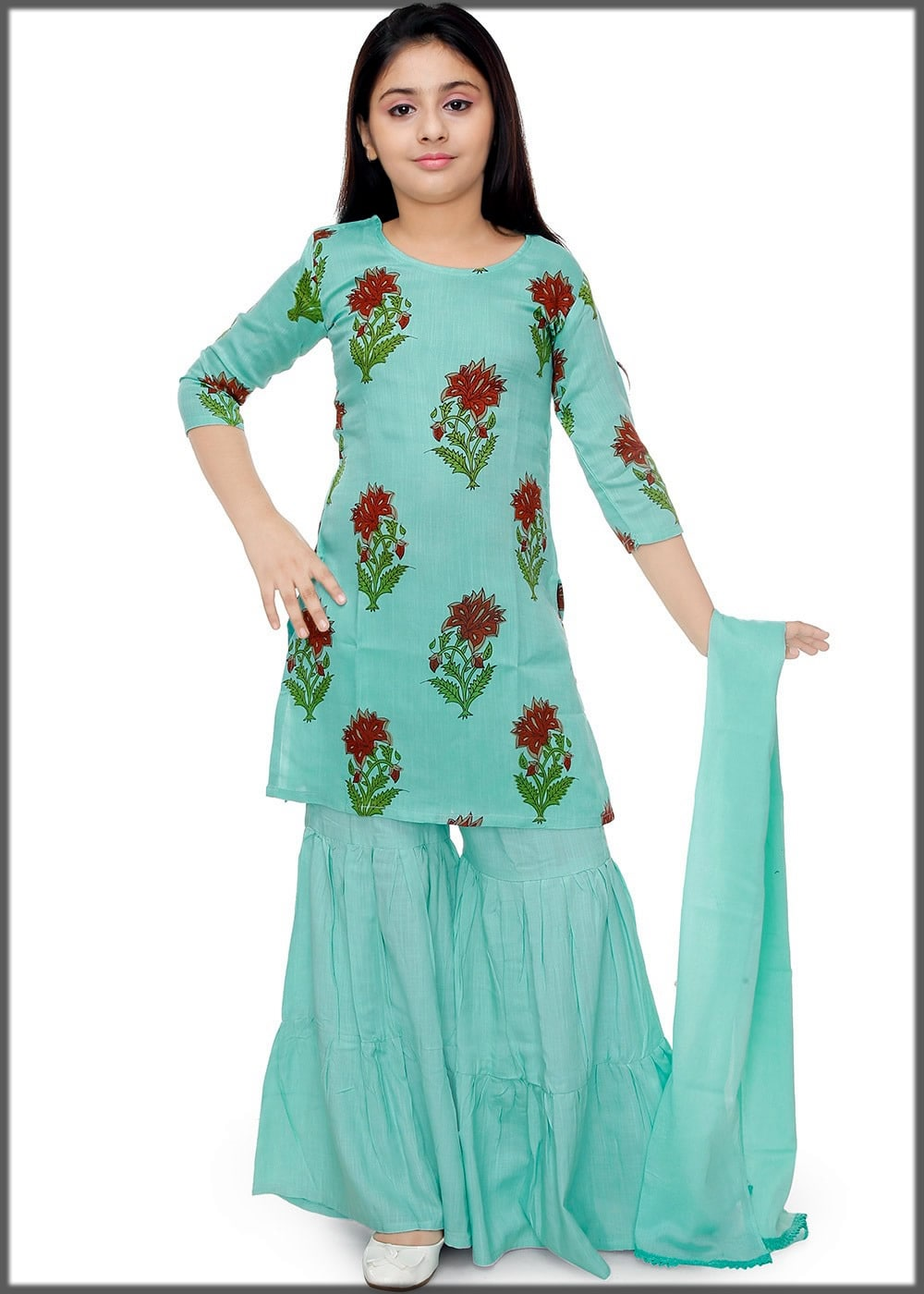 printed green sharara dress