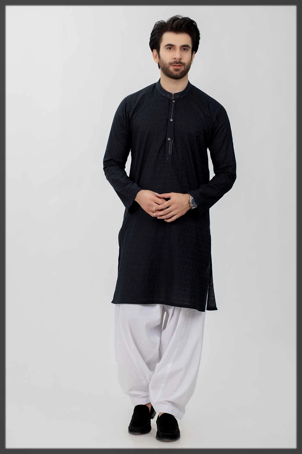 sleek black winter kurta