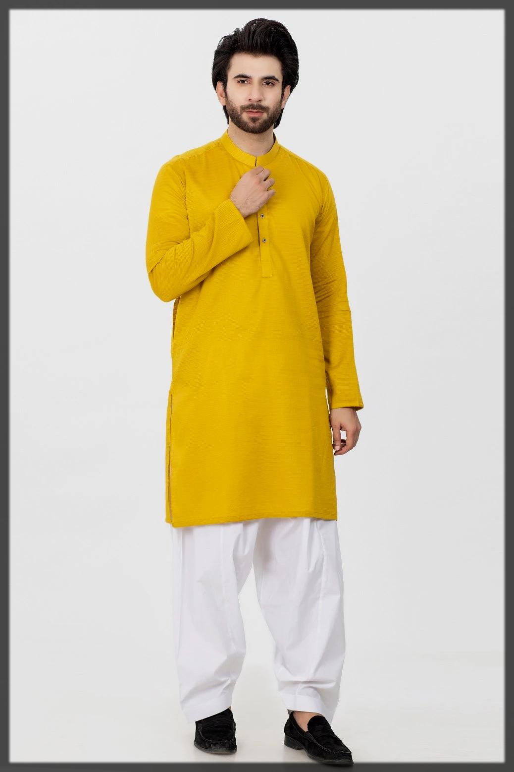 sunshine yellow winter kurta
