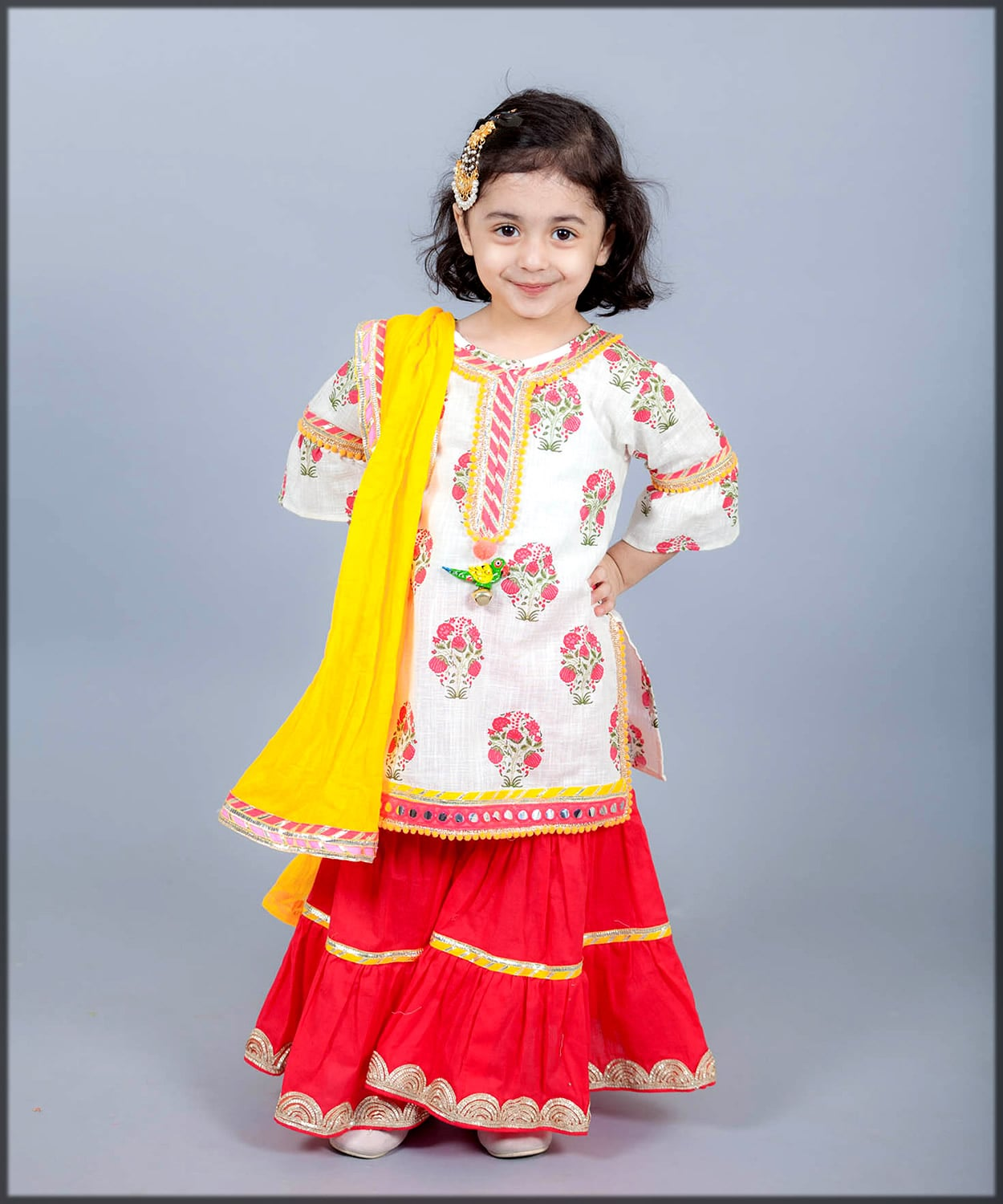 white and red sharara dress