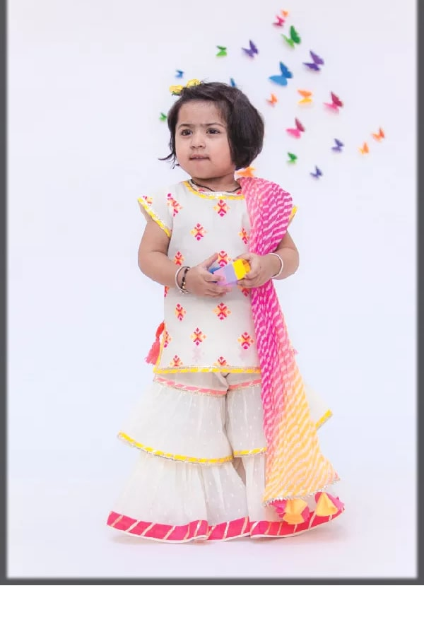 white fancy sharara for baby girls