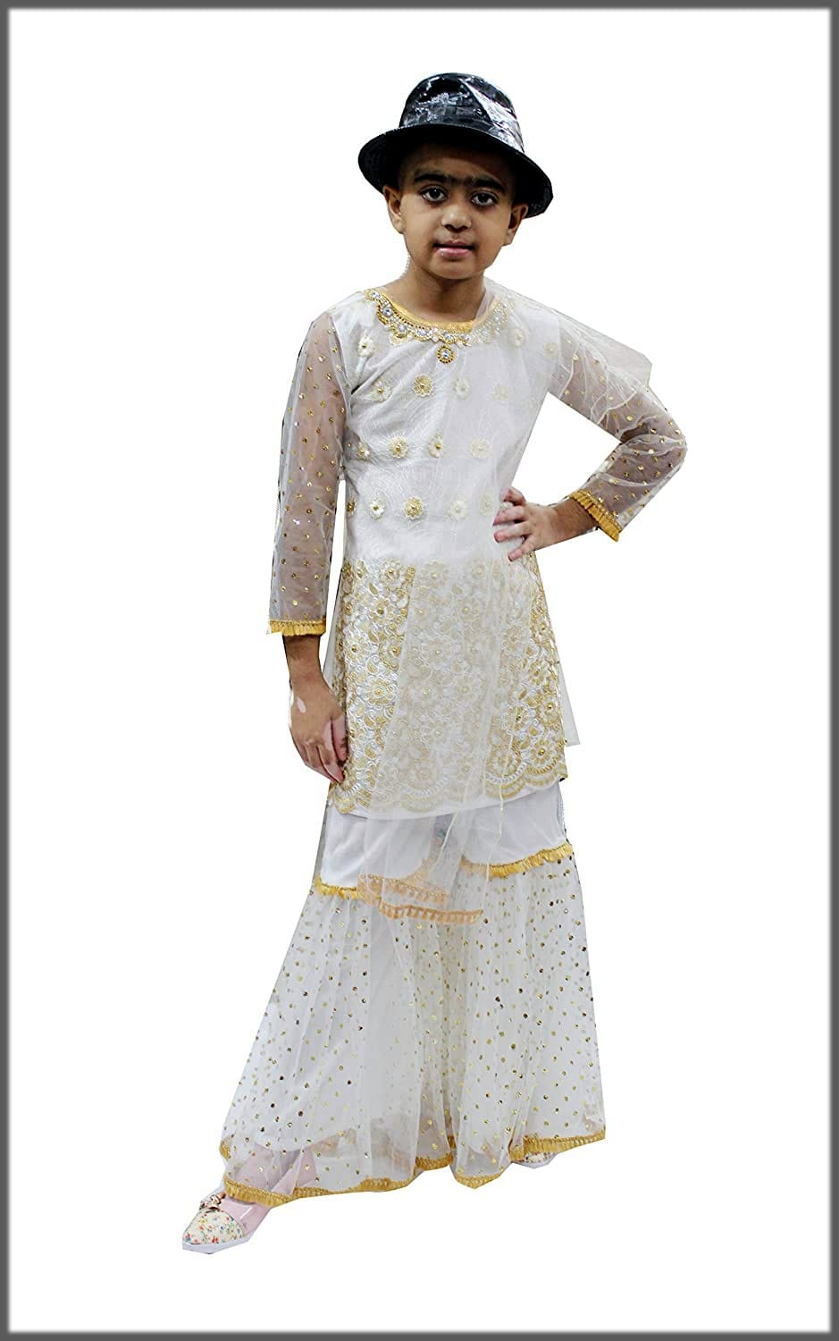 white fancy sharara