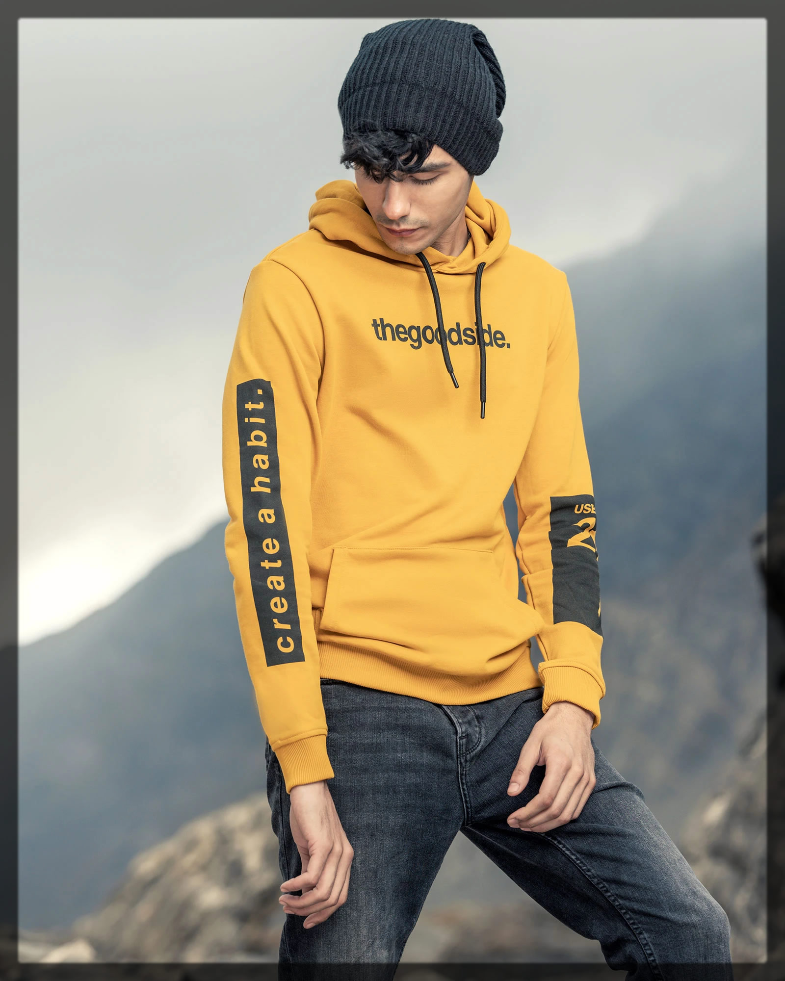 yellow blended hoodie for men