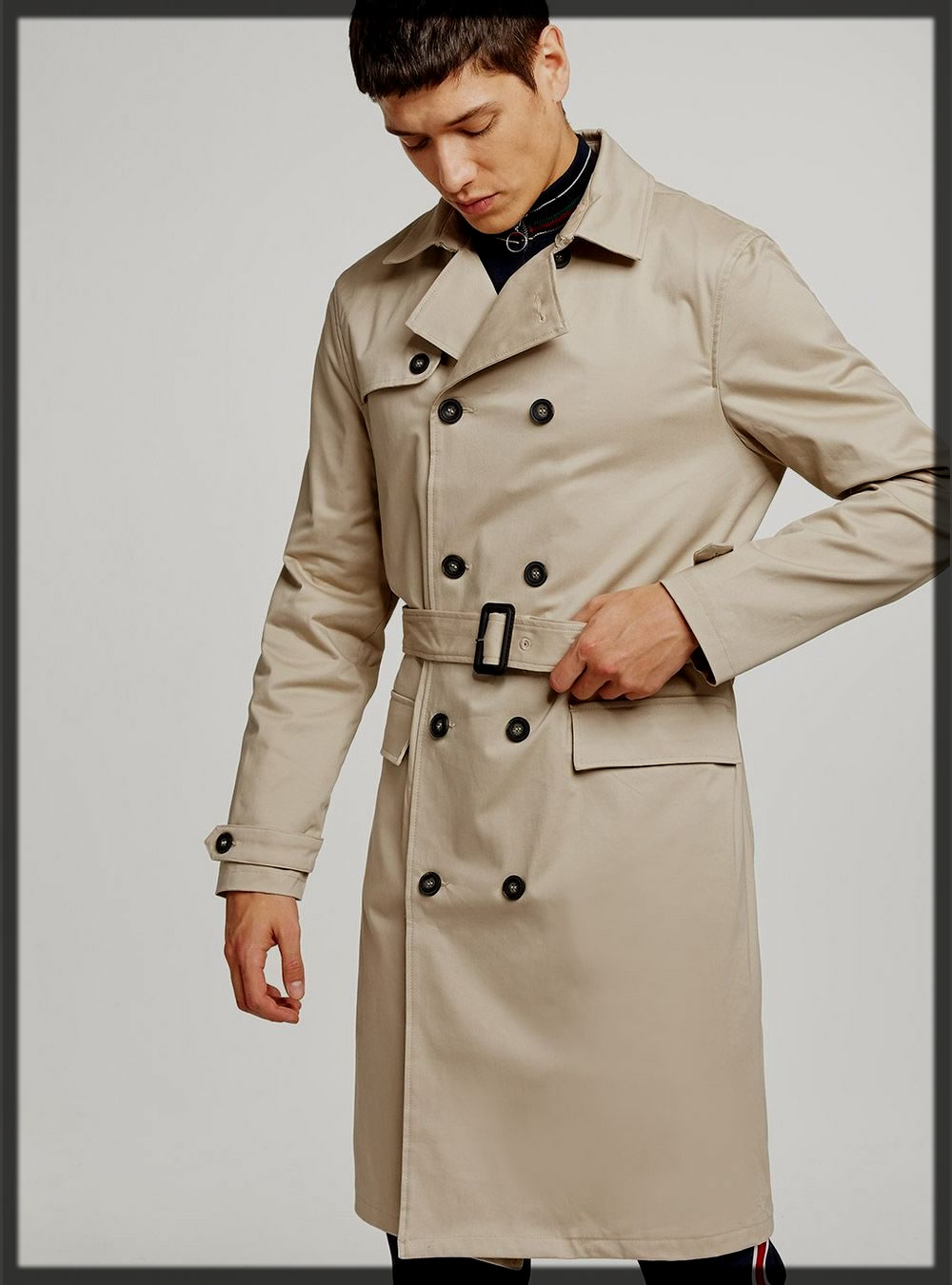 Classy Double-Breasted Trench Coat for men