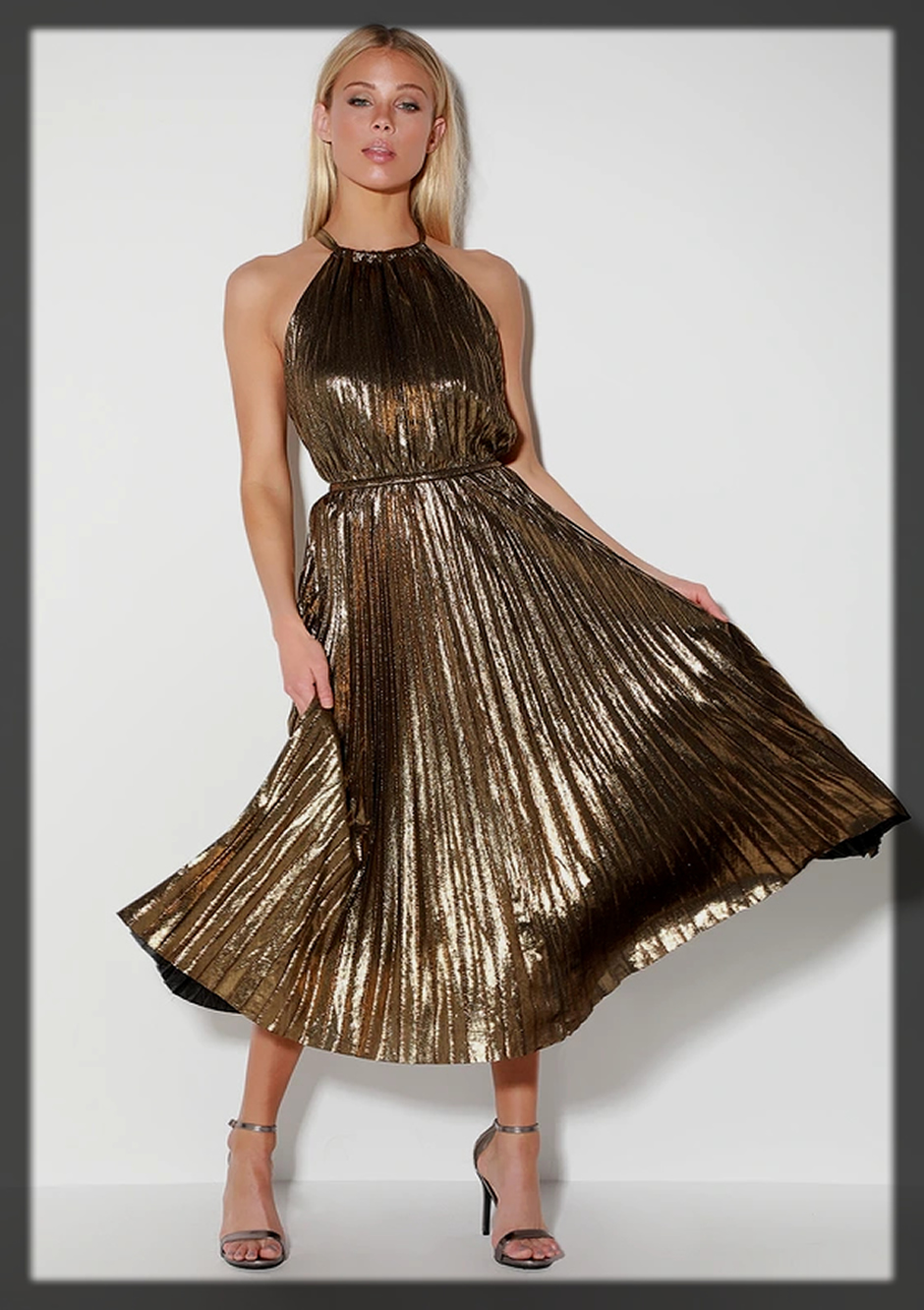 Gold Pleated Dress for women