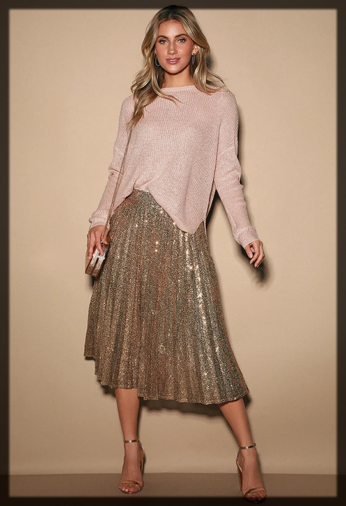 Gold Sequin Pleated skirt
