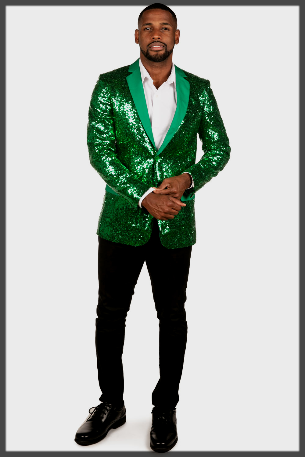 Men's Green Sequin Blazer with pant