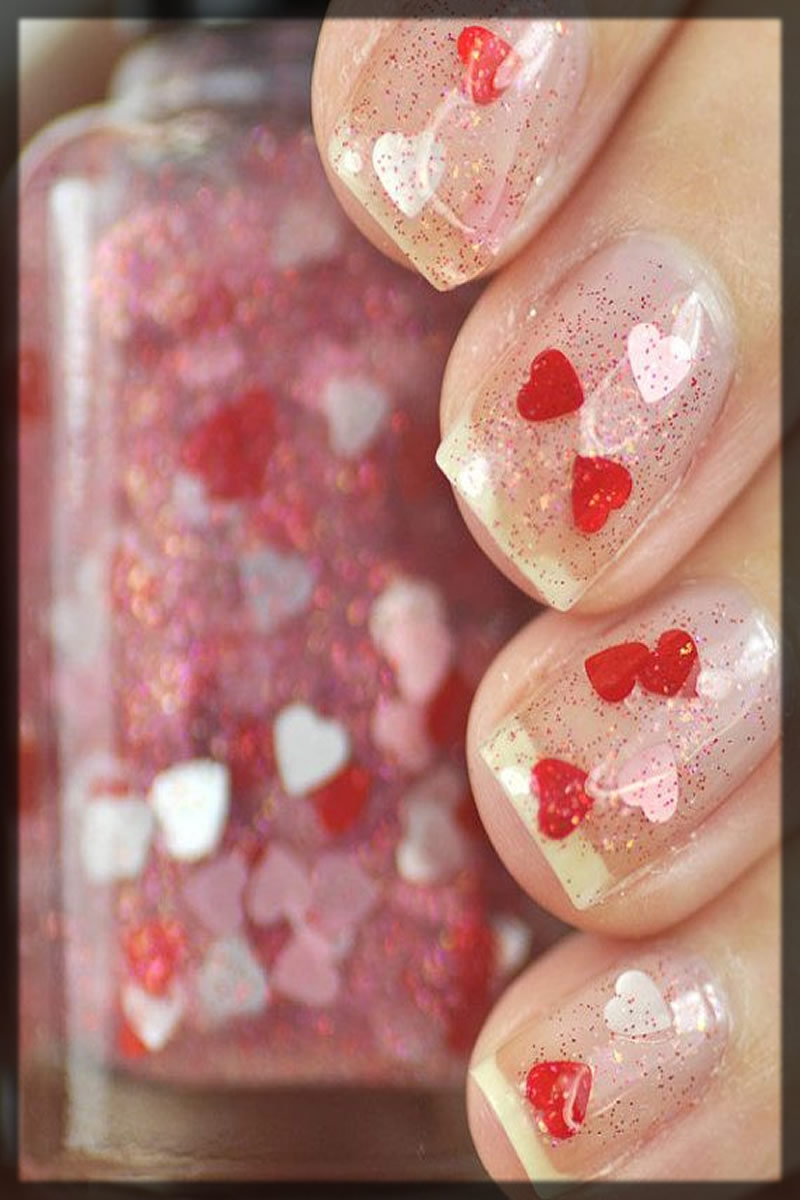 Petite heart Bridal Nail Art Designs