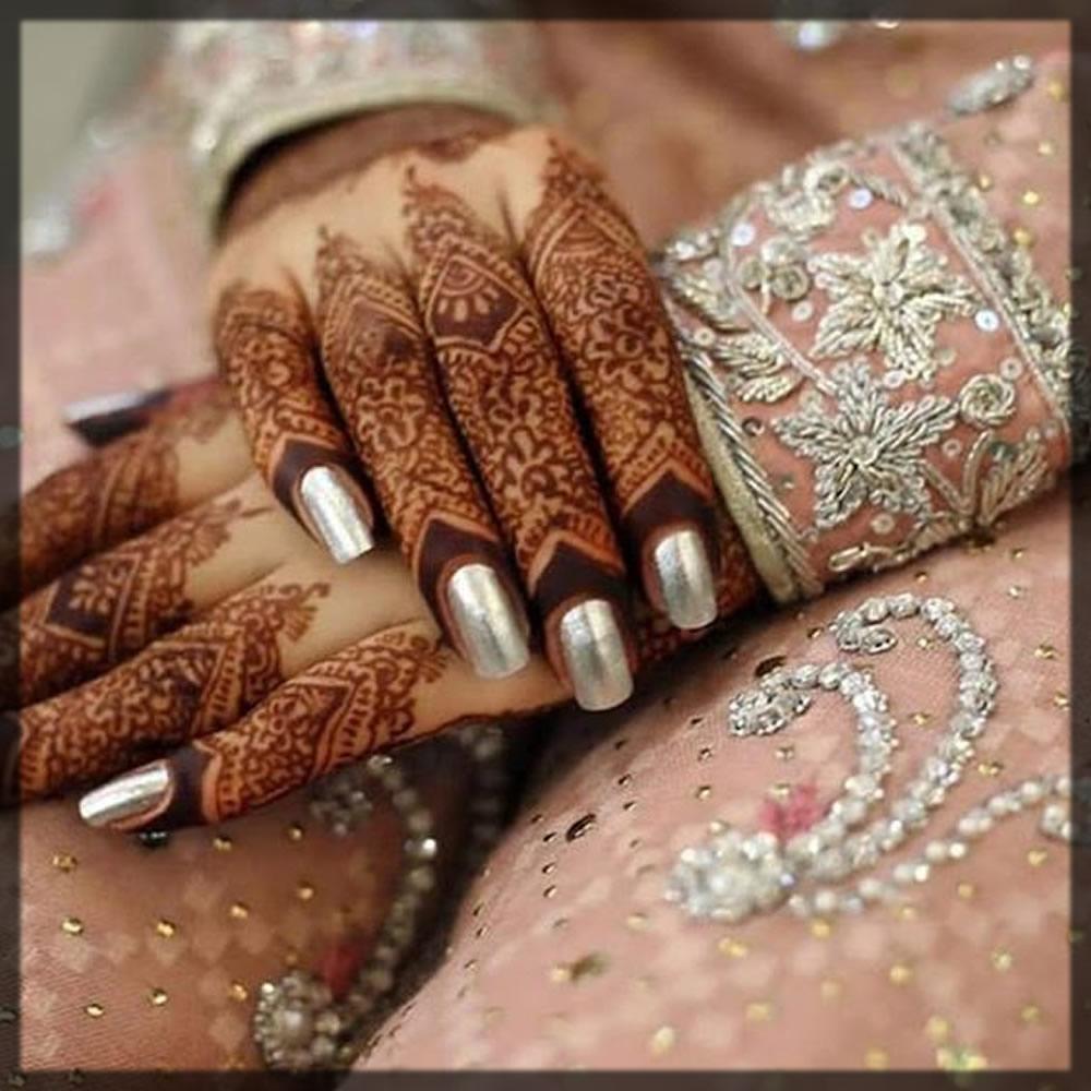 Shiny Silver Bridal Nail Art