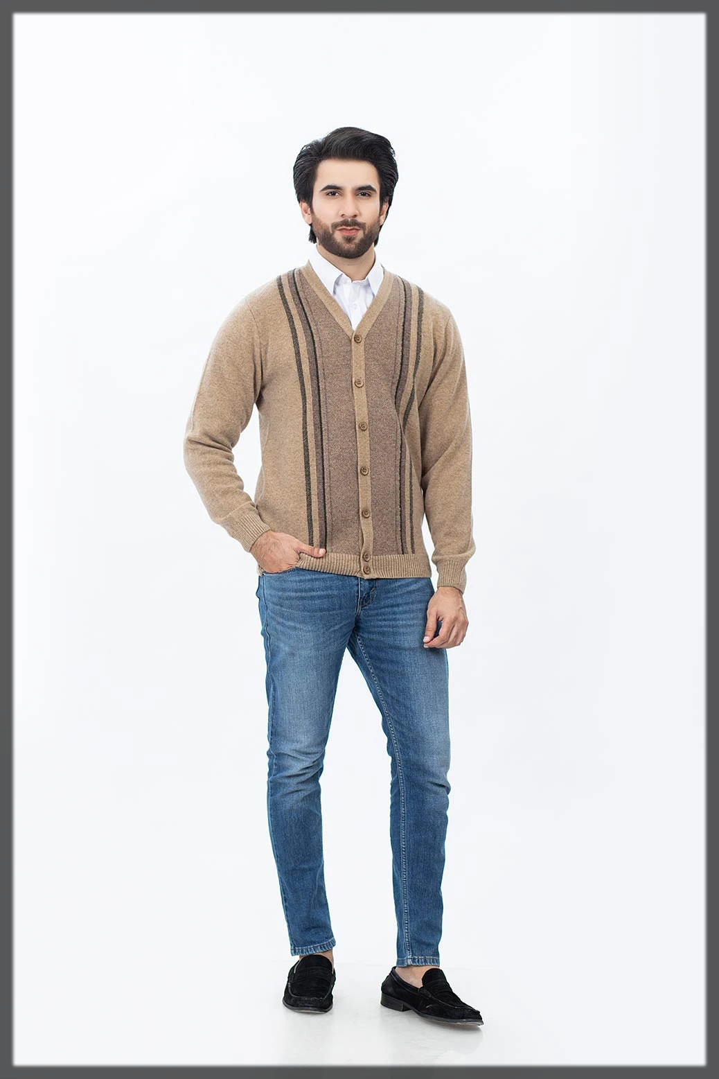 beige full sleeves sweater for men
