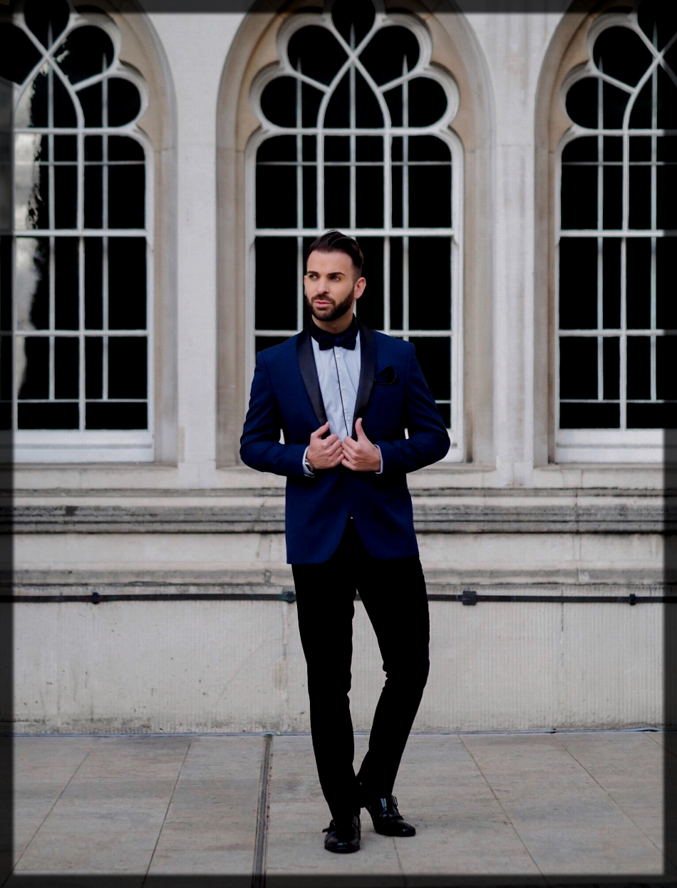 blue and black pant suit for men